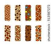 set of flat chocolate granola... | Shutterstock .eps vector #513587272