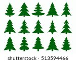 set of green fir tree and pines ...