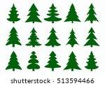 set of green fir tree and pines ... | Shutterstock .eps vector #513594466