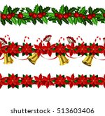 set of seamless christmas... | Shutterstock .eps vector #513603406