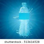 fresh water bottle splash... | Shutterstock . vector #513616528