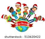 multicultural kids wearing xmas ... | Shutterstock .eps vector #513620422