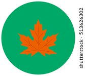 maple leaf cute icon in trendy...