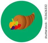 fruit in horn cute icon in...