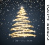 stylized gold merry christmas... | Shutterstock .eps vector #513640936