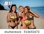 Three Young Women In Swimsuit...
