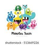 cute monster  monster logo ... | Shutterstock .eps vector #513669226