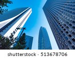 high rise buildings and blue... | Shutterstock . vector #513678706