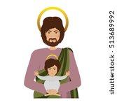 saint joseph and baby jesus | Shutterstock .eps vector #513689992