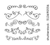 set of swirl hand drawn text... | Shutterstock .eps vector #513690556