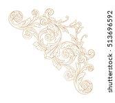 gold vintage baroque corner... | Shutterstock .eps vector #513696592