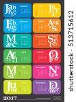 creative calendar for the year... | Shutterstock .eps vector #513715612