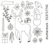 winter hand drawn elements... | Shutterstock .eps vector #513717742