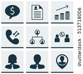set of management icons on... | Shutterstock .eps vector #513718006