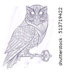 patterned owl with key on the... | Shutterstock .eps vector #513719422