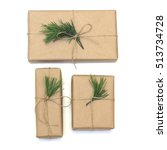 eco style gift wrapping. three... | Shutterstock . vector #513734728