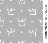 seamless pattern with crowns.... | Shutterstock .eps vector #513739642