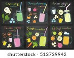 set of fruits smoothie recipes. ... | Shutterstock .eps vector #513739942