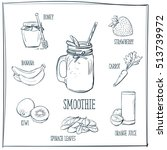 doodle set of smoothie   honey  ... | Shutterstock .eps vector #513739972