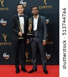 Small photo of LOS ANGELES, CA. September 18, 2016: Actors Aziz Ansari & Alan Yang at the 68th Primetime Emmy Awards at the Microsoft Theatre L.A. Live.