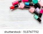 lot of bottles nail polish on... | Shutterstock . vector #513767752