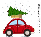red car driven by a christmas... | Shutterstock .eps vector #513769132