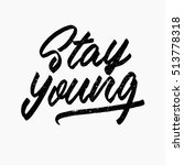 stay young quote. ink hand... | Shutterstock .eps vector #513778318