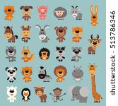 Big set isolated animals. Vector collection funny animals. Cute animals: forest, asia, africa, farm, domestic, polar in cartoon style. | Shutterstock vector #513786346