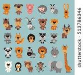 big set isolated funny animals. ...