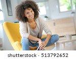 attractive mixed race woman... | Shutterstock . vector #513792652
