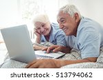 senior couple using laptop in... | Shutterstock . vector #513794062
