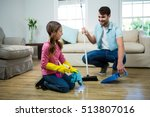 daughter helping father to... | Shutterstock . vector #513807016