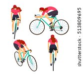 racing cyclist woman in action... | Shutterstock .eps vector #513809695