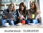 friends using digital tablet... | Shutterstock . vector #513810535