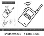 Portable Radio Set Vector Line...