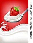 milk yogurt cream with... | Shutterstock .eps vector #513824152