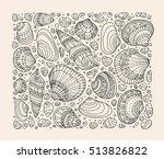 seashell pattern art background.... | Shutterstock .eps vector #513826822