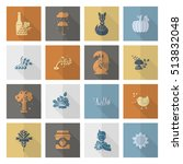 set of flat autumn icons....   Shutterstock .eps vector #513832048