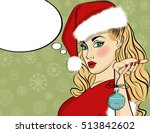 pop art santa girl. pin up...