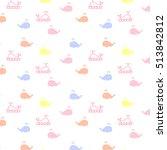 cute cartoon whale vector... | Shutterstock .eps vector #513842812