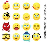 set of emotional yellow face on ... | Shutterstock .eps vector #513846916