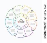 thin line pie chart infographic ... | Shutterstock .eps vector #513847462