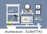 modern desk with computer set ... | Shutterstock .eps vector #513847792