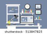 modern desk with computer set ... | Shutterstock .eps vector #513847825
