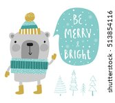 christmas card. creative hand... | Shutterstock .eps vector #513854116