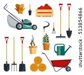 set farm tools flat vector... | Shutterstock .eps vector #513854866