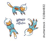 funny cats astronauts in space... | Shutterstock .eps vector #513864832