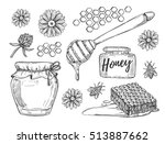 honey making hand drawn vector... | Shutterstock .eps vector #513887662