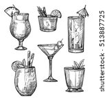 alcoholic cocktail glass hand... | Shutterstock .eps vector #513887725