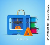 3d printing concept poster in... | Shutterstock . vector #513890122